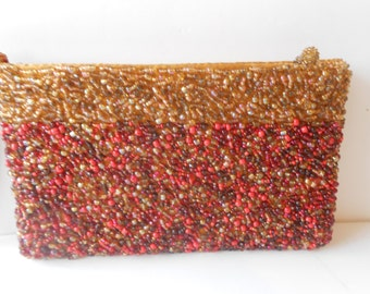 Beaded Evening Bag, Vintage Beaded Bag,Orange and Gold Beads, Bead Clutch bag, Beaded Handbag Purse EB-0029