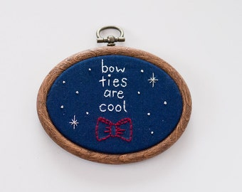 Hand Embroidered Dr Who Bow Ties are Cool Hoop Art