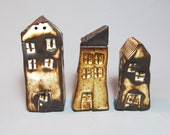 3 Small Ceramic  Houses, One of a kind, Collectible, Rustic Houses, Home Decor, Gift - BadDogCeramics