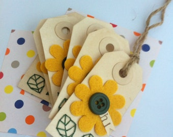 "Sunflower motif -""hi"" -summer gift tags (set of 6)"