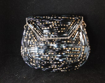 Vintage beaded black purse