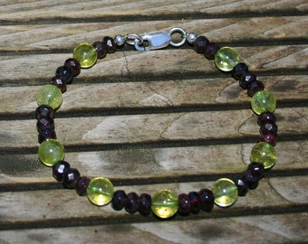 PERIDOT AND GARNET Bracelet For Men