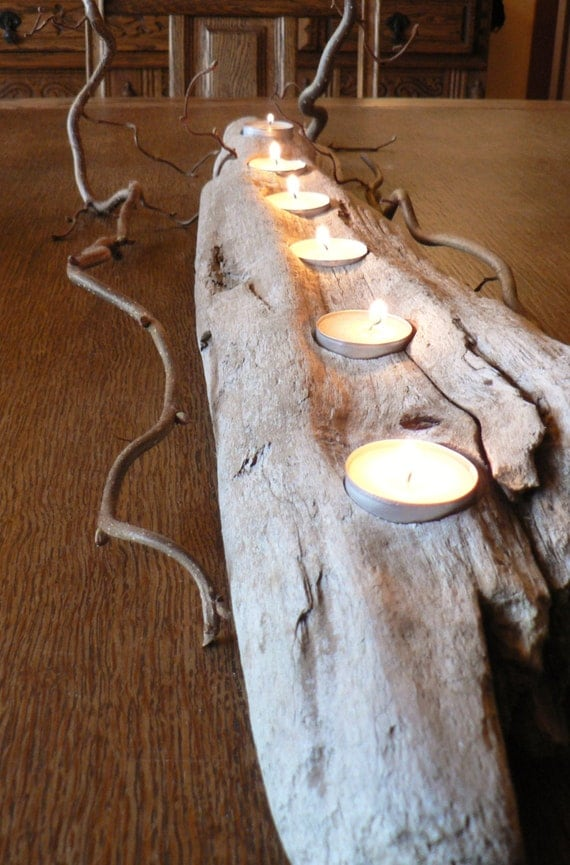 Driftwood large center piece wedding decor rustic candle