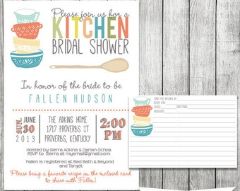 Kitchen Bridal Shower Invitation - Printable file 5 x 7 and Matching Recipe Card