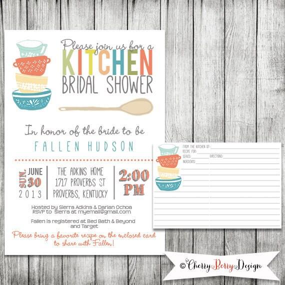 Kitchen Bridal Shower Invitation Printable File 5 X 7 And