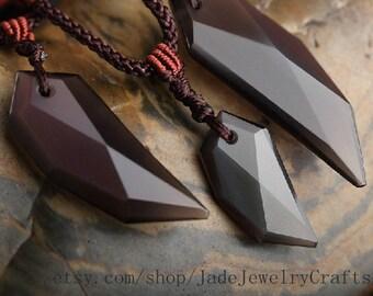 Natural black jade spike pendant necklace, tusk necklace, semi precious stone tusk beadwork necklace
