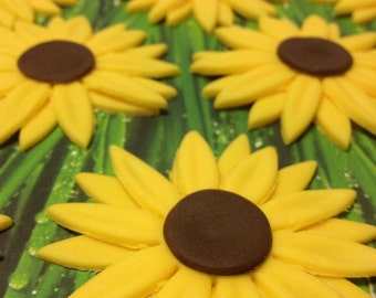 Fondant Sunflower Cupcake Cookie Toppers