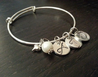 Handstamped Initial Bangle Bracelet - Silver Finish