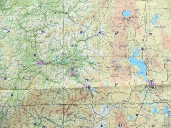 Huge Navigation Wall Map Oregon Nevada By TextilesandThings