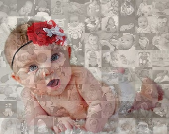 24x24 Inch Photo Mosaic Collage - Custom Personalized - Unique One-of-a-Kind Wall Art