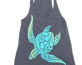 Hawaii Honu Sea Turtle Design Akua Hand Printed on an American Apparel Racerback Tank with High Quality Water Based Ink Ombre green blend