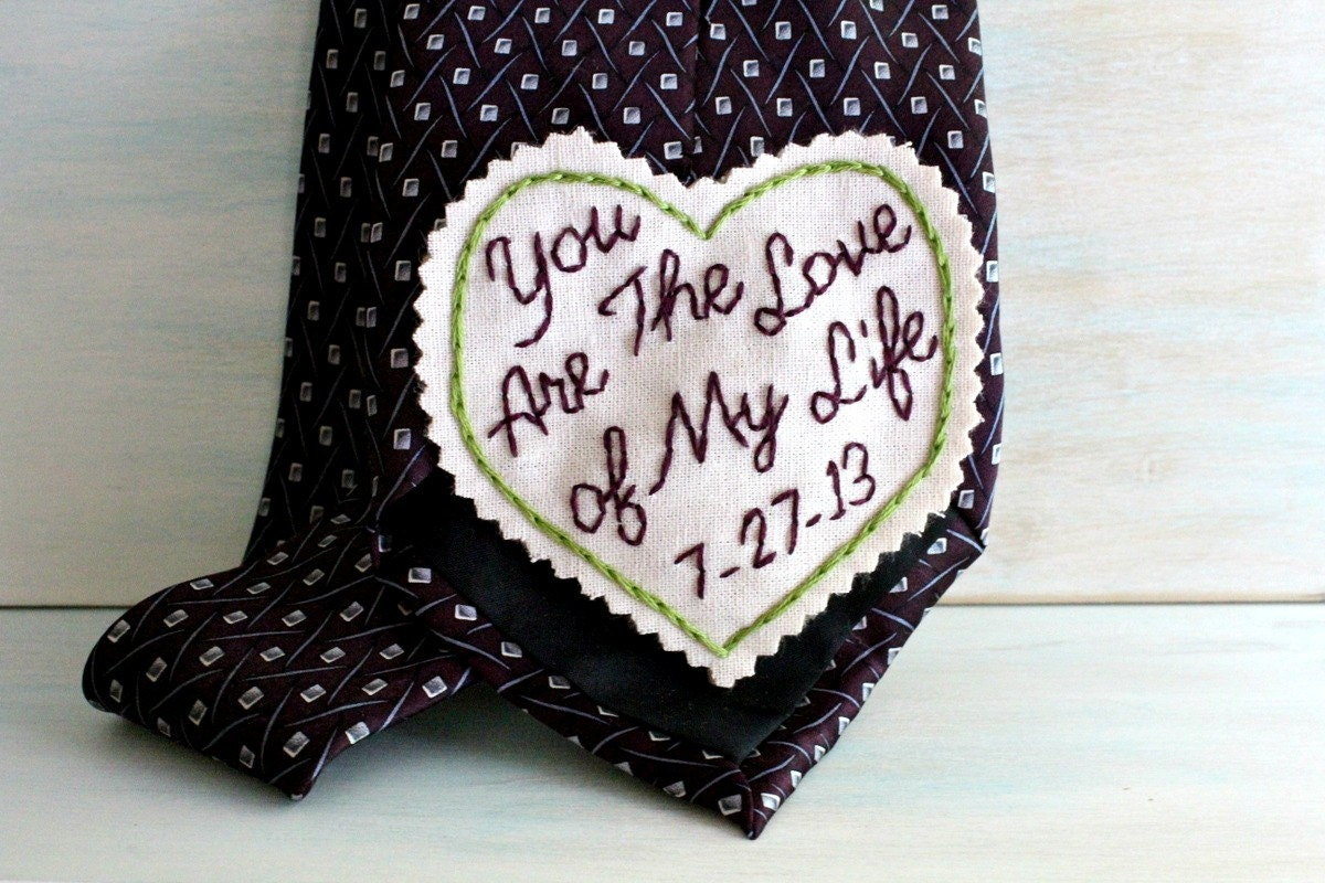 Grooms Gifts Ideas From Bride: You Are The Love Of My Life. Groom Gift. Hand Embroidered Tie