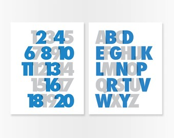 Baby Boy Nursery - Blue Nursery - ABC 123 Nursery Art Prints SET - Alphabet Wall Art Numbers - Blue & Gray Playroom Art - Kids Room Wall Art