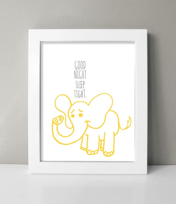 Cute Elephant Nursery Decor Baby Boy Nursery Wall Art Print