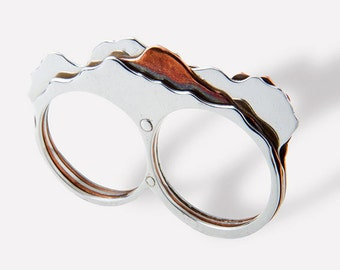 Handmade sterling silver and copper volcano ( Iztaccíhuatl ) two finger ring