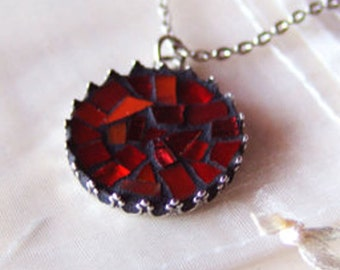Deep red mosaic pendant/ mosaic jewelry/ gift for her/ red round stained glass necklace/ free shipping