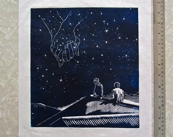 Made Of Stars - woodcut print