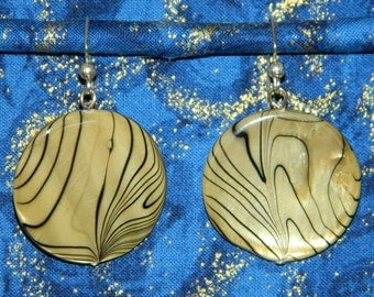 Gold with Black Striped Disks Earrings by Dae
