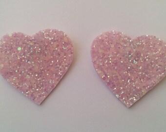 pale pink glitter heart shoe clip