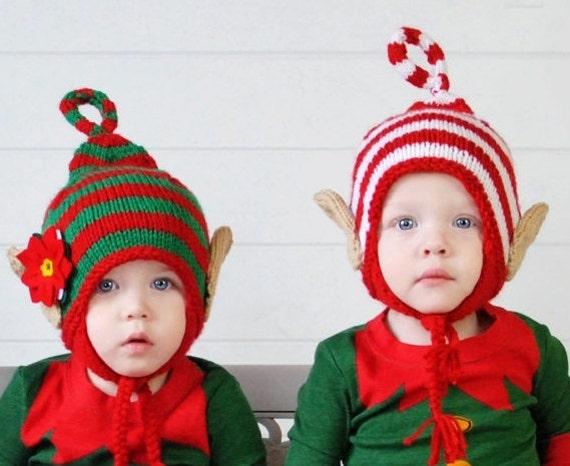 Twin Christmas Hats Baby Elf Hat Twins Elf Hat Elf Beanie