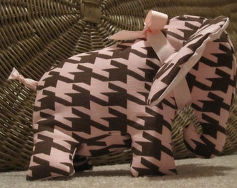 Pink and Brown Houndstooth Stuffed Elephant Soft Toy