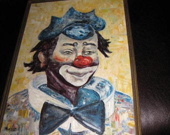 """FRAMED CLOWN PRINT By Canadian Artist Michele From The 60's In Antique Frame 14 1/2"""" X 20 1/2"""""""