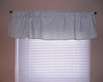 "Handmade Curtain/Window Valance 50""W x 15""L in Village Blue/Natural Greek Print, 100% Cotton, Home Decor"