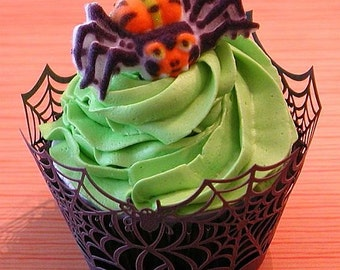 Spider Web Cupcake Wrapper-Set of 12 Laser Cut Cupcake Wrappers