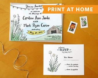 A Rustic Romance: Print at Home Wedding Invitation Suite - Perfect for Outdoor, Country, Rustic, and Barn Weddings