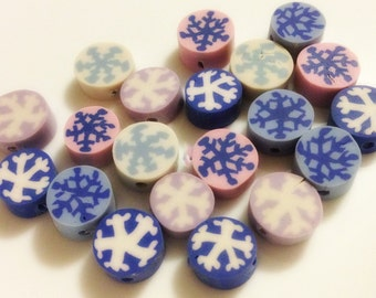 Polymer Clay Snowflake Beads Mixed Colors QTY 20