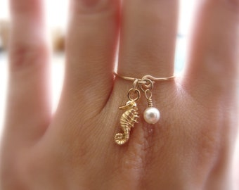 Charm ring, Gold filled ring, Seahorse ring, Dainty ring, Delicate ring, Pearl ring, Wire ring