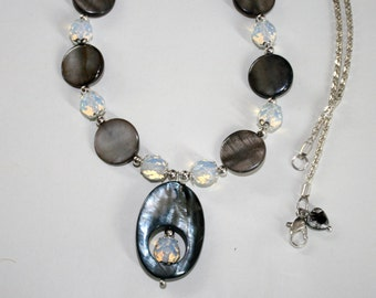 """Black Shell Necklace, Gray Shell Necklace, Shell Jewelry, 22.25"""" Long Necklace, Handmade Jewelry by De Mor Jewels"""