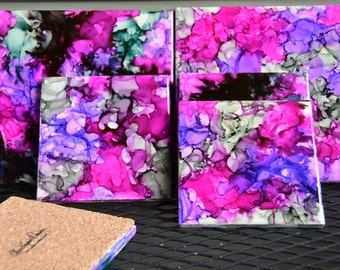 6 Piece Alcohol Ink  Ceramic Coaster Set - MIX & MATCH COLORS!