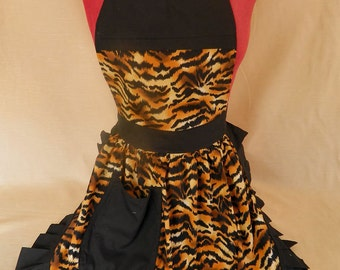 Retro Vintage 50s Style Full Apron / Pinny - Gold & Black Tiger Stripes with Black Trim