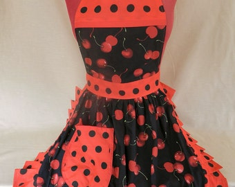 Retro Vintage 50s Style Full Apron / Pinny - Black & Red - Cherries (Cherry)