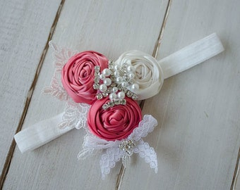 Flower Girl Headband, Coral Girl's Headband with Rolled Roses, Lace and Rhinestone Brooch