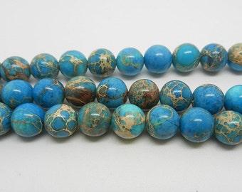"16""   Light   Blue  Imperial Jasper  Round Beads--6mm"