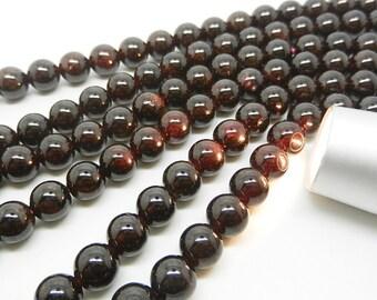 """15.5""""  Natural Garnet  Round  Bead , Garnet  Gemstone -- 8mm , 7mm"""