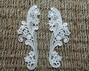 "1 Pair Off White Venice Lace Appliques Mirror Floral Rayon Venice Lace, 6"" X 2""  -i097"
