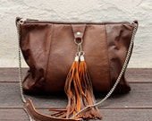 Natural leather handbag / 100% repurposed brown leather / mini clutch bag / make up bag - nextLIFEproject