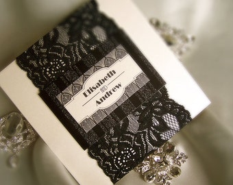 Sample - Art Deco Vintage Wedding Invitation with Black Lace