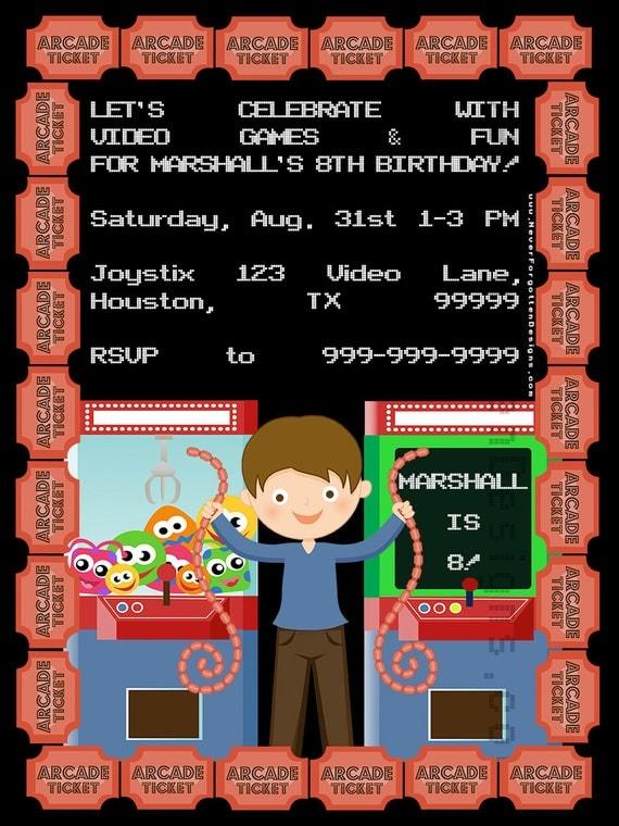 5x7 Custom Personalized Cartoon Child Video Game Arcade ...