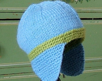 Children's Wool Hat, Earflap for kids, baby hat, Boys Winter Knit Hat, Baby Gifts, In Stock