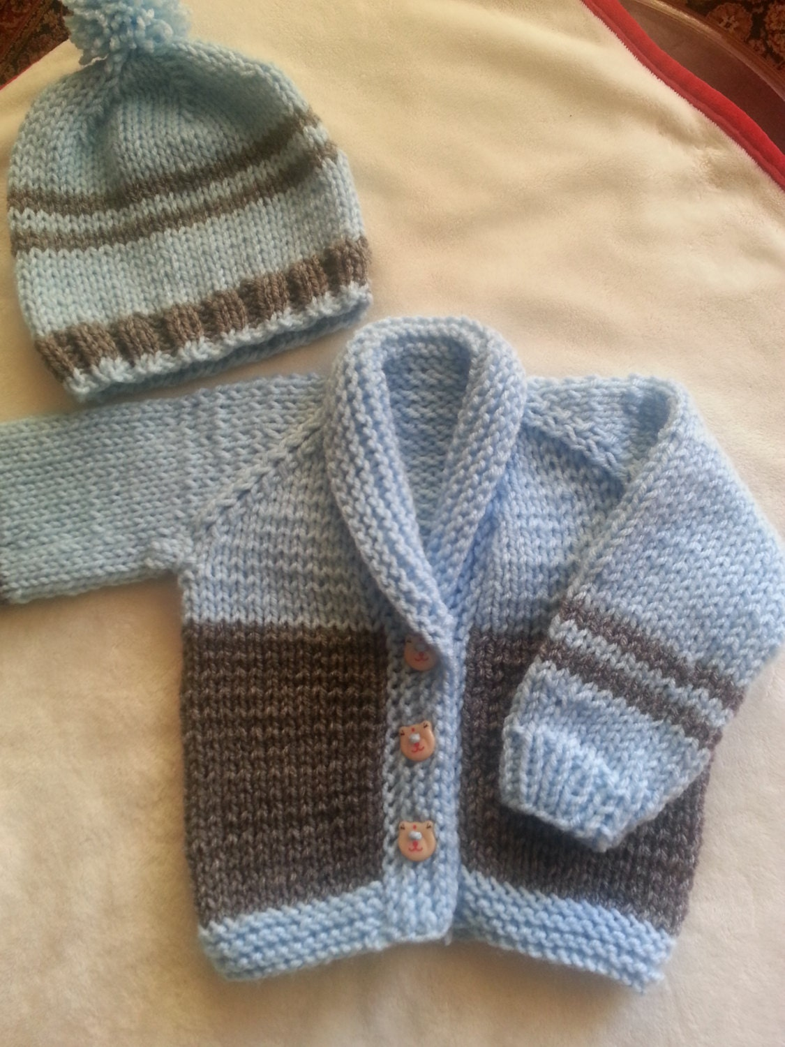 Handmade Knitted Sweater Cardigan Set For Baby Boy By Lunushka