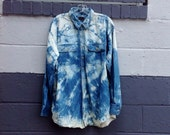 Oversized Bleach-Washed Denim Shirt