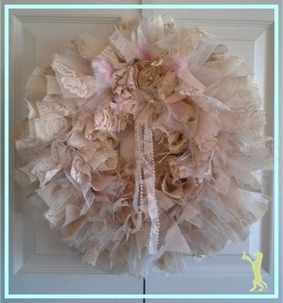 20% OFF (Enter coupon code MERRYXMAS20)-A BEAUTY Handcrafted Burlap Shabby Chic Victorian Lace Rosette Door Wreath