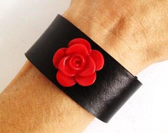 Red flower leather bracelet, black leather bracelet cuff with red flower, womens leather cuff, leather bracelet with flower.