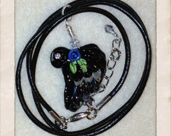 ON SALE Black Wing Necklace