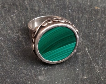 Vintage Malachite And Silver Ring