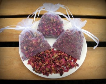 3 - 3x4 Dried Rose Petal Sachets - Wedding Toss Lavender - 3 Guest Favors - 3 Wedding Favors - Wedding Toss Sachets - Wedding Confetti